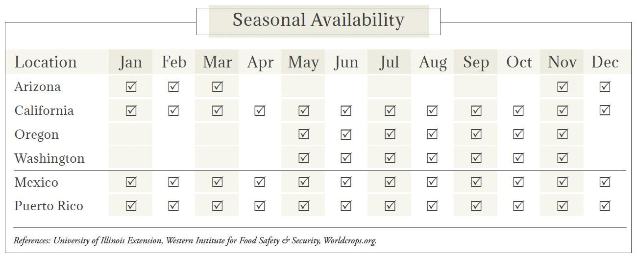 Cilantro Seasonal Availability Chart