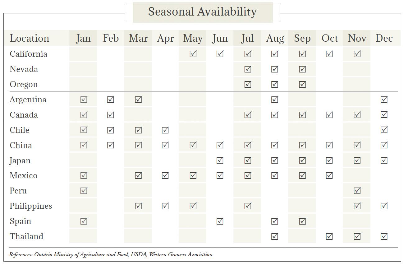 Garlic Seasonal Availability Chart