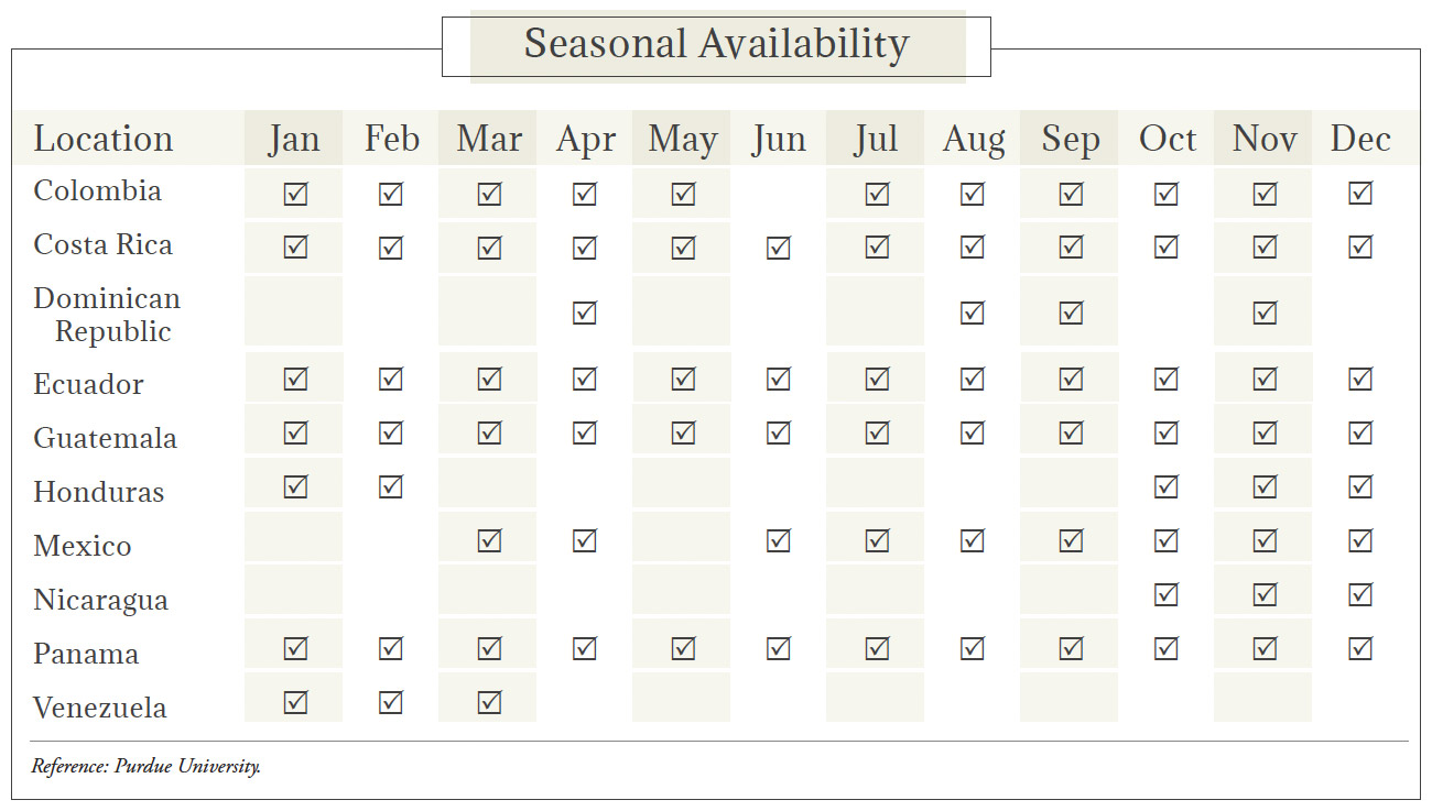 Plantains Seasonal Availability Chart