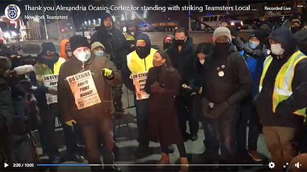Rep. Ocasio-Cortez stands with Hunts Point Market workers on strike