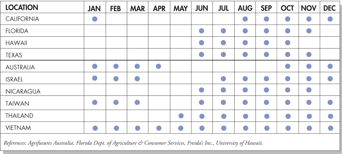 Dragon Fruit Seasonal Availability Chart