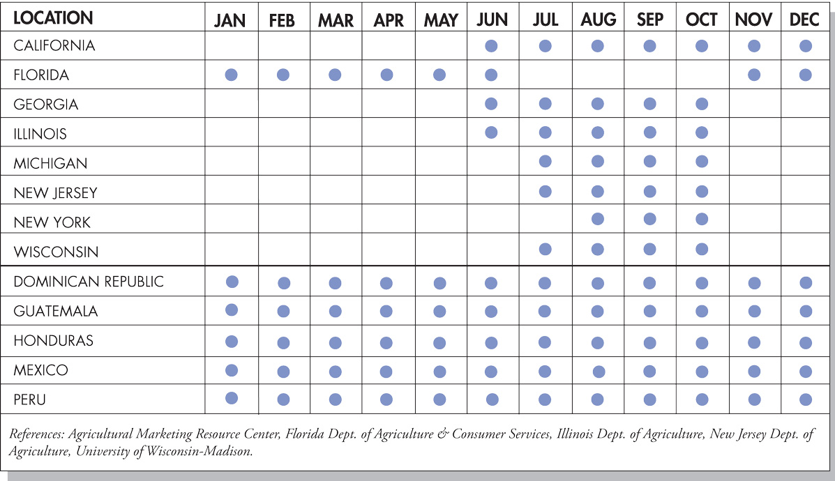 Eggplant Seasonal Availability Chart